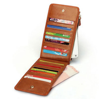 Wholesale Mini Square Cell Phone - HMILY Genuine Leather Card Wallet 20 Card Slot Card Bag Large Capacity Business Card Holder Wax Oil Skin Mini Women Coin Purse