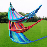 Wholesale Canvas Hammocks Camping - DHL 280*150cm Double People Outdoor Hammock Creation Thickerness Canvas Garden Hang Bed Travel Camping Swing Stripe Rope ZJ-H16