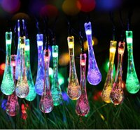 Wholesale 20LED Fairy String Lights Solar Powered Water Drop Led Light Outdoor waterproof Christmas garden light Wedding Decoration