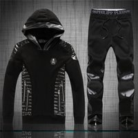 Wholesale Knit Hats Beads - Brand pp 2016 New arrivial philip-pleinn men's leather stitch skull sports suits Mens fashion Hedging with hat tracksuits Free shipping 6124