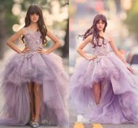 gençler için tutu elbiseleri toptan satış-Gençler için Hi-Lo Kız Pageant Elbiseler 3D Çiçek Aplikler Tutu Tül Çiçekler Kız Elbise Prenses Genç Doğum Günü Partisi Communion Elbise