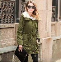 Wholesale Quilt Coat - 2017 Army Green Winter Parka Hooded Coat Warm Women's Jackets Female Casual Wadded Quilt Snow Outwear Warm Overcoat In Stock FS1915