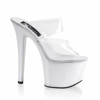 Wholesale White Large Size Wedding Shoes - 17cm Crystal Transparent Sexy Fashion Beatiful High Heel Slippers Large Big Size 7 Inch Sexy Bride Holy Church Wedding Shoes