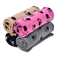 köpek yatakları tasarımı toptan satış-Toptan Pet Battaniye Mat Battaniye Güzel Tasarım Pençe Baskı Yumuşak Sıcak Polar Köpek Kedi Mat Köpek Yatak Kanepe Yastık 100 * 70 cm