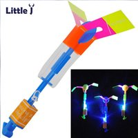 Wholesale Fun Outdoor Lighting - 12Pcs Lot Amazing LED Light Arrow Rocket Helicopter Rotating Flying Toys Party Fun Kids Outdoor Flashing Toy Fly Arrow