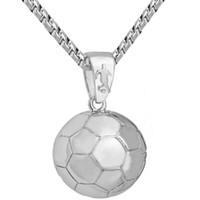 ingrosso palle di calcio americano-Nuova collana da uomo con ciondolo da calcio, collana con pallina da uomo, gioielli europei americani, giochi con la palla, souvenir, collana da calcio