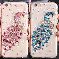 Bling Crystal Rhinestones Luxury Peacock Clear Hard Case Cover pour iPhone4 5 SE 6 Plus Samsung Verious Phone