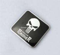Wholesale Cheap Metal Decal - Skull The Punisher Logo HD Metal Car Motorcycle Decal Sticker Emblem For Tank Cheap emblem metal