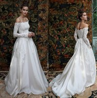 Wholesale Top Beautiful Wedding Dresses - 2016 Romantic Ball Gown Wedding Dresses Lihi Hod with Off Shoulder and Long Sleeves Lace Top Beautiful Bridal Gowns
