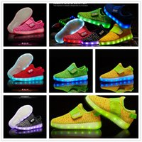 Wholesale Outdoor Sport Lights Led - Kids LED Luminous Sneakers USB Rechargeable Child Air Mesh Boys Girls Sports Breathable Shoes Light Up Casual Shoes OOA2871