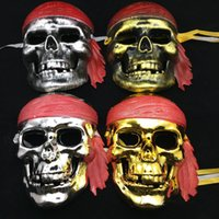 Wholesale Pirate Masquerade Masks - Free Size Halloween Face Mask Caribbean Pirates Masquerade Masks Scary Skulls Masks Halloween Party Supplies Drop Shipping
