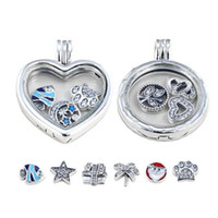 Wholesale Glass Lockets Make Pendants - Real 925 Sterling Silver Floating Locket Pendant, Sapphire Crystal Glass ,Pendant Necklaces For Fashion Women Jewelry Making