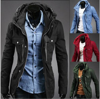 Wholesale Thick Green Trench Coat - Thick Mens Black Coat Jacket Trench Stand Collar Winter Men Hooded Coat Jacket Long Sleeve Slim Euro Wild Overcoat Jacket For Men J161039