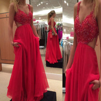 Wholesale Open Out Tops - 2016 Stunning Prom Dress Long Formal Sexy Open Back Evening Party Wear Beaded Lace Top Cut Out Hollow Back Floor Length Chiffon Dresses