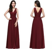 Wholesale drape bridesmaid gowns resale online - New Designer Burgundy V Neck Long Bridesmaid Dresses A Line Chiffon Cheap Wedding Guests Gowns Floor Length Maid of Honor Gowns CPS723