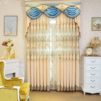 Wholesale Valances For Windows - Beautiful European Embroidery Curtain Luxury Living Room Bedroom Curtains High Quality Curtain For Home Hotel #Valance