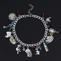 Wholesale Channel Hats - Alice in Wonderland Inspired Charm Bracelet Gril Mirror Clock Teapot Playing Card Hat Key with gift box