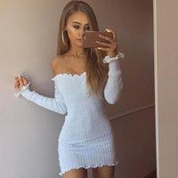 Wholesale black sweater ruffle - Hot Pure Black White Sweater Wooden Ear Slim Dress