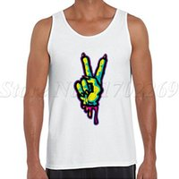 Wholesale Sexy Zombie - Wholesale- Zombie Piece Monster Peace Sign printing men tank tops hipster cool o-neck Vest Punk Style men singlets