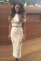 Wholesale Ankle Length Graceful Dresses - Graceful Two Pieces Split Ankle Length Mermaid Prom Evening Dress Covered Button Short Sleeve O-Neck Celebrity Dress with Appliques Beaded
