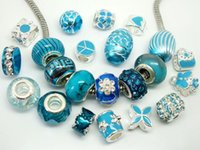 50pcs / Lot Beautiful Lake Blue Charms Beads para Jóias Fazendo Loose Charms DIY Beads for European Bracelet Atacado em Bulk Low Price