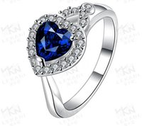 Wholesale Jewelry Love Rain - Crystal Heart Rings For Women Best Gift High Grade Love Jewelry 18K White Plated Rain Heart Fine Jewelry Rings
