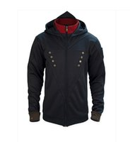 Wholesale assassins creed costumes online - assassins creed costume assassins creed jacket unity arno hoodie black with blue shade with interchangeable patches In store