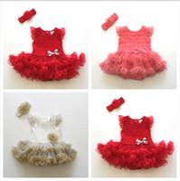 Wholesale 12 Month Birthday Dresses - 4 Color Baby Girl Infant Toddler 2PCS Outfits Tulle Birthday Romper Dress + Handmade Crochet Flower Headband K7593