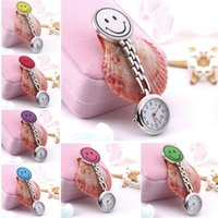 Wholesale New Smile Face Nurse Fob Brooch Pendant Portable Pocket Watch Clip Watch Medical Use Pocket Quartz Clasp Watch