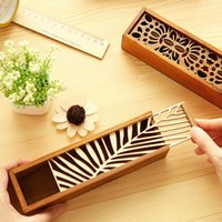 Wholesale Laces Case - Free Shipping High Quality Lace Hollow Wooden Pencil Case Pencil Box Wood Box School Office Supplies Papelaria