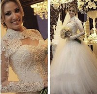 Wholesale pricess wedding dresses resale online - Brazilian Bride Covered Neck Income Lace Appliqued Pearls Luxury Wedding Dresses Pricess Ball Gown Custom Made