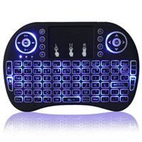 Wholesale Tv Led 15 - Rii mini i8 LED backlit+ Wireless Backlit Keyboard 2.4G RF Qwerty Touchpad gaming Teclado for S905X S912 T95X X96 Andorid TV box