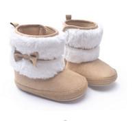 super baby schuhe großhandel-Neue Mode Super Warme Winter Baby Stiefeletten Schneeschuhe Säuglingsschuhe Khaki Rutschfeste Warmhalten Babyschuhe Erste Wanderer 2 paar