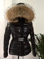 Wholesale Real Fur Coats Black - women jacket hot selling winter coat thickening Female Clothes real raccoon fur collar hood down jacket