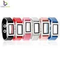 Wholesale Charms Mix Zinc - 6PCS Floating charm locket Leather Bracelet Square magnetic glass Fashion bracelet Mix Color Zinc Alloy LSLB07*6