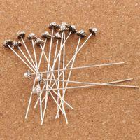Wholesale pins needles head online - Hot D flowers Hat Head Pins Tibetan Silver Findings x50mm Jewelry DIY L1758 LZsilver