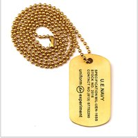 Barato Colar De Corrente De Titânio-DOG TAG Colar e homens Ball Chain Hiphop Golden Dog Tag Necklace 83 Gravado Men's Military Titanium Steel Necklace