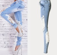 Wholesale women foot sexy resale online - Spring Women Vintage Denim Hot Sexy Openwork Lace Stitching Trousers Slim Feet Jeans Woman Plus Size Women Pants