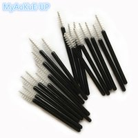 Wholesale Mini Mascara - Mini Disposable Eyelash Brushes Black Handle White Brush 200pcs Eyelash Extension Tools One -Off Lash Brush Mascara Wands