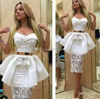 arabische stil partei kleider großhandel-2016 Sexy Weiß Kurze Cocktailkleider Schatz Spitze Satin Mantel Knielangen Saudi Arabisch Party Kleider Aso Ebi Stil Abendkleider