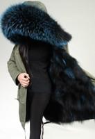 Wholesale Ladies Hooded Large - Real Fox fur Liner Mrs Ladies Long furs parkas large raccoon dog fur collar Thick Warm Fur Lining