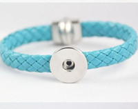 Wholesale Diamond Braid Bracelet - DIY NOOSA Bracelets Genuine Leather Braid Bracelets Magnetic Clasp Buckle Interchangeable Snap Buttons Fine Jewelry