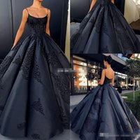 Wholesale Black Satin Backless Dress - Simple Sexy Black 2018 Ball Gown Evening Dresses Spaghetti sleeveless Backless Empire Satin Lace Appliqued Floor-length Prom Party Gowns