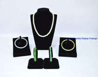 Wholesale Necklace Mannequin Free - Free Shipping Hot Selling Black Velvet Earring Silver Jewelry Display Stands Kit Necklace Bracelet Holder Organizer Cases