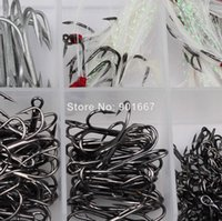 Novo equipamento de pesca 200Pcs / Box Mixed Size 1 / 0-2 / 0-3 / 0-2 / 4/6/8/10 Gancho de pesca Alto Qulity Brown Color Jig Big Hook Treble Hooks