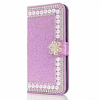 Pour Samsung Galaxy S8 Plus S7 Edge S6 Nouveau TPU Bling Bling Glitter Pearl Leather Wallet Case Pouch Luxe Soft Rose Back Cover