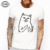 Wholesale Flash Clouds - Wholesale- ZSIIBO TX211 Cat Patterns M-3XL Funny T-Shirts Men Cloud Clown Print Tshirt Fashion O Neck Tee Top Homme Camisetas Hombre
