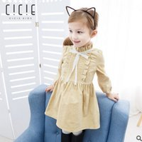 Wholesale American Girl Doll Stand - Children dress girls corduroy lace lace-up bows doll dress kids ruffle stand collar princess dress autumn winter girl clothing T0141