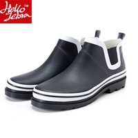 Wholesale Rain Boots Us8 - Men's Rainboots Rubber galoshes Spring & Fall Europe Fashion Black Ankle Boots outdoor low non slip waterproof quality rubber Rain shoes