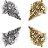 Wholesale African Movies - Movie Men Jewelry Big Size Targaryen Wolf Head Brooch Vintage Gold Silver Animal Brooches For Women Brooch ZJ-0903662